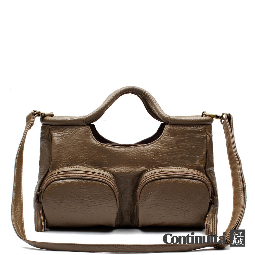 Omdi 經典流蘇多口袋手提包(咖啡色)