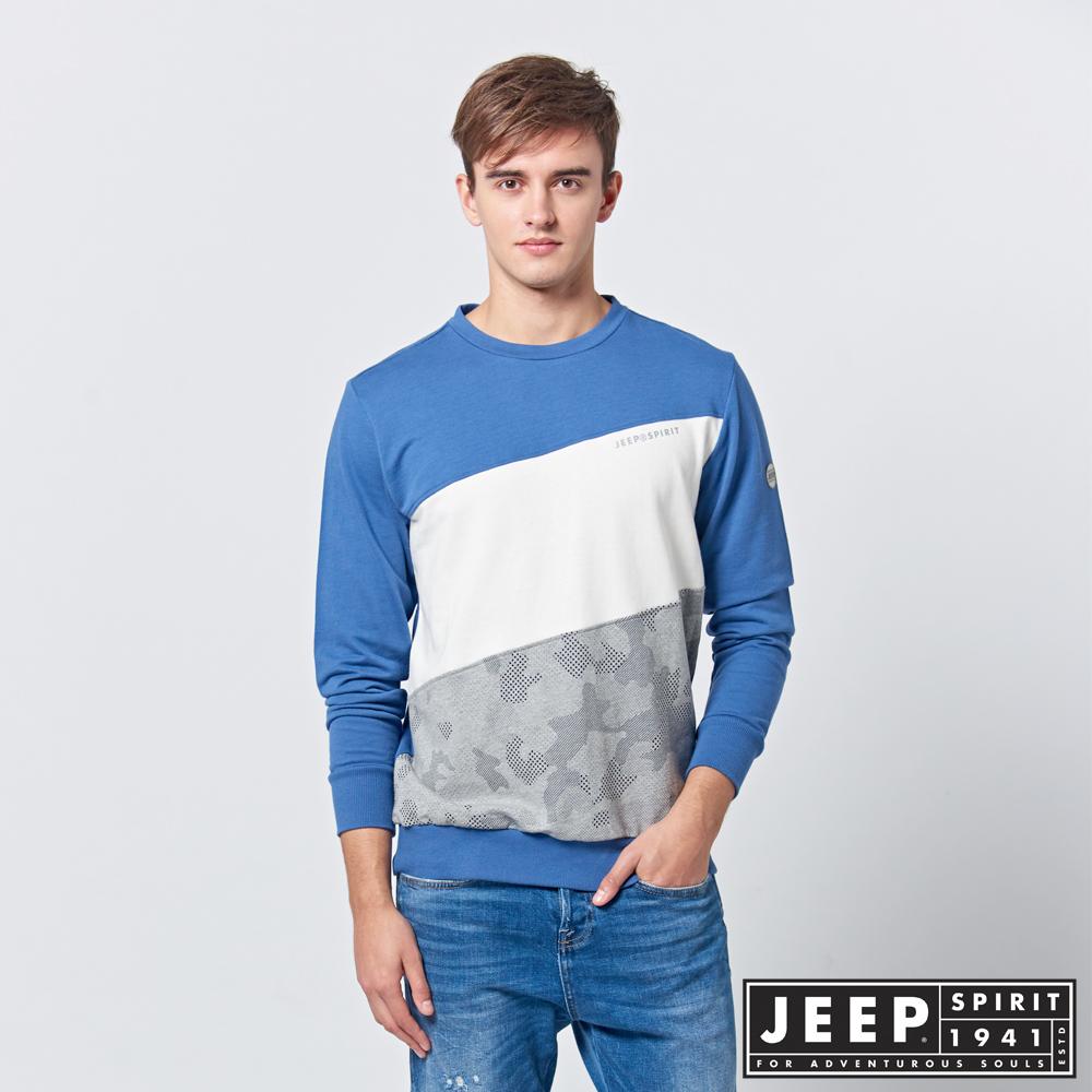 JEEP 簡約漸層拼接長袖TEE-藍