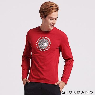 GIORDANO 男裝圓領英文標語長袖印花T恤-12 標誌紅