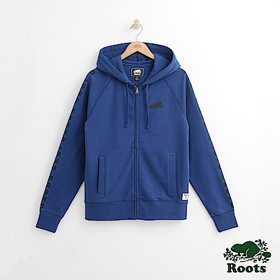 Roots 男裝-雙臂印花連帽外套-藍色