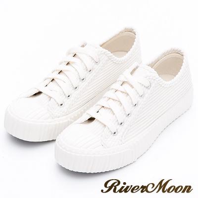 River&Moon餅乾鞋-韓系燈芯絨綁帶厚底休閒鞋-米白