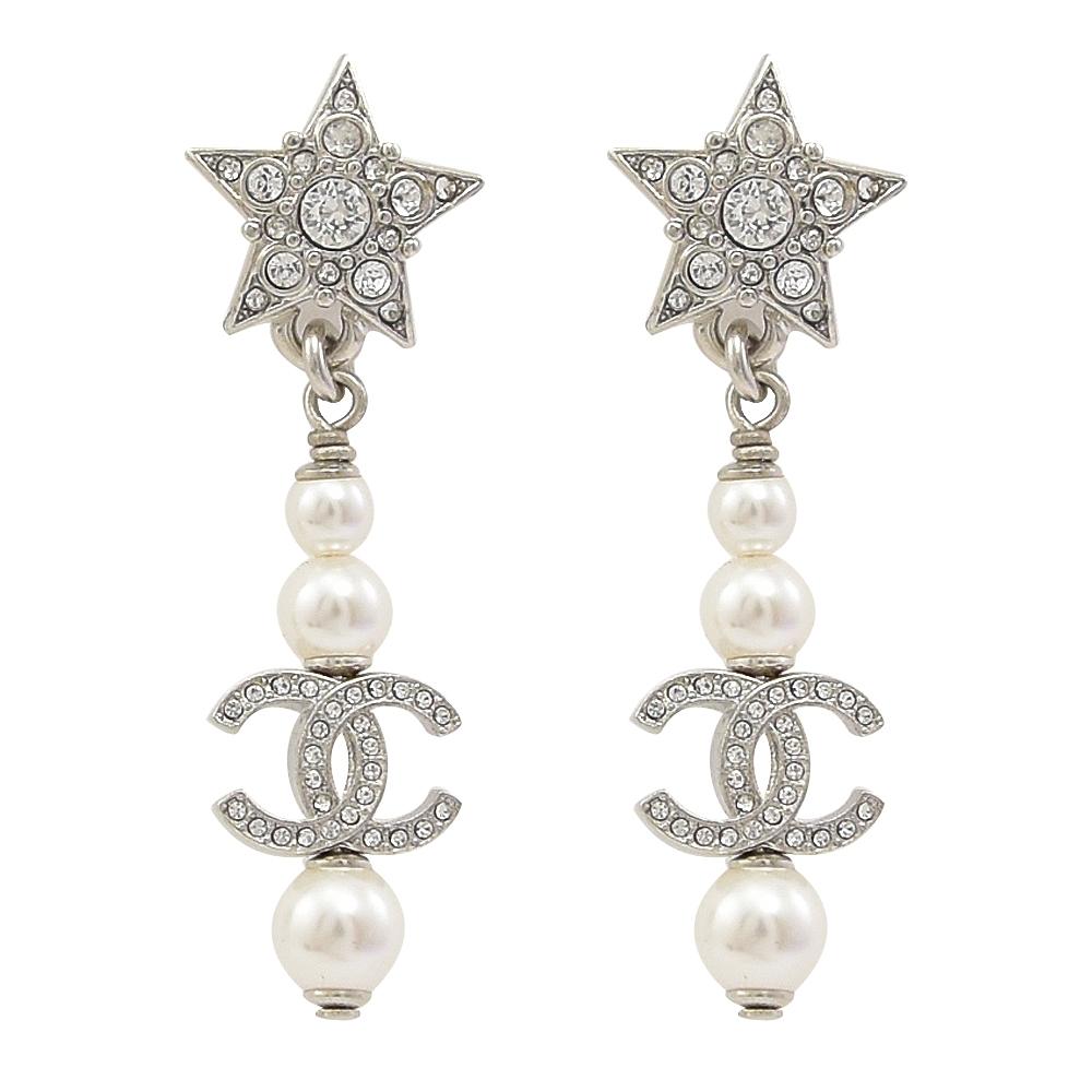 CHANEL水鑽星星造型珠珠雙C LOGO吊飾耳環(銀)
