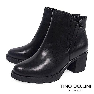 Tino Bellini 極簡質感原色牛皮中跟短靴 _ 黑