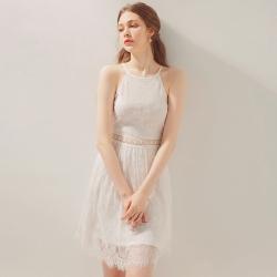 AIR SPACE 蕾絲削肩腰鏤空短洋裝(白)
