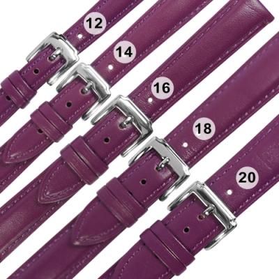 Watchband /各品牌通用 經典色系 真皮錶帶 不鏽鋼扣頭-紫色