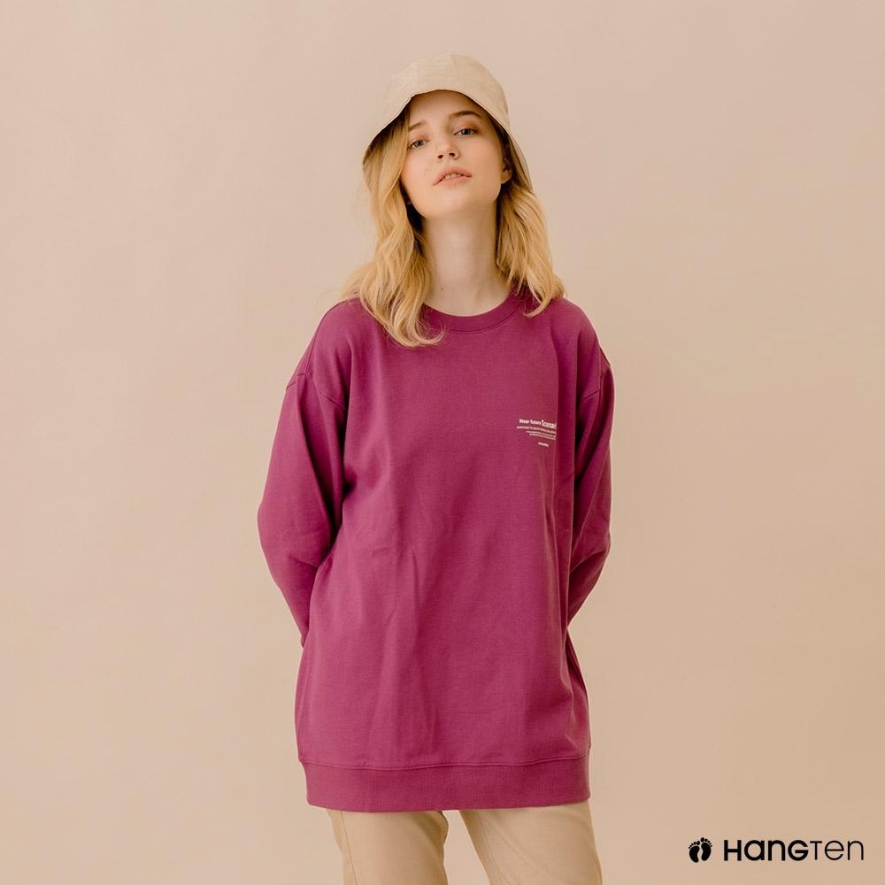 Hang Ten-中性款-ECO有機棉-標語大學T-粉紫色