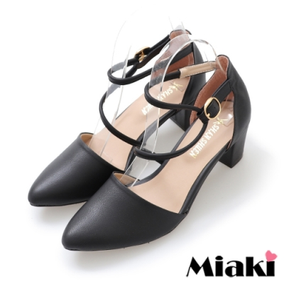 Miaki-高跟鞋首爾穿搭尖頭粗跟包鞋-黑