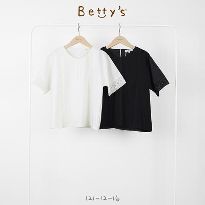 betty's貝蒂思 圓領縷空蕾絲拼接上衣(黑色)