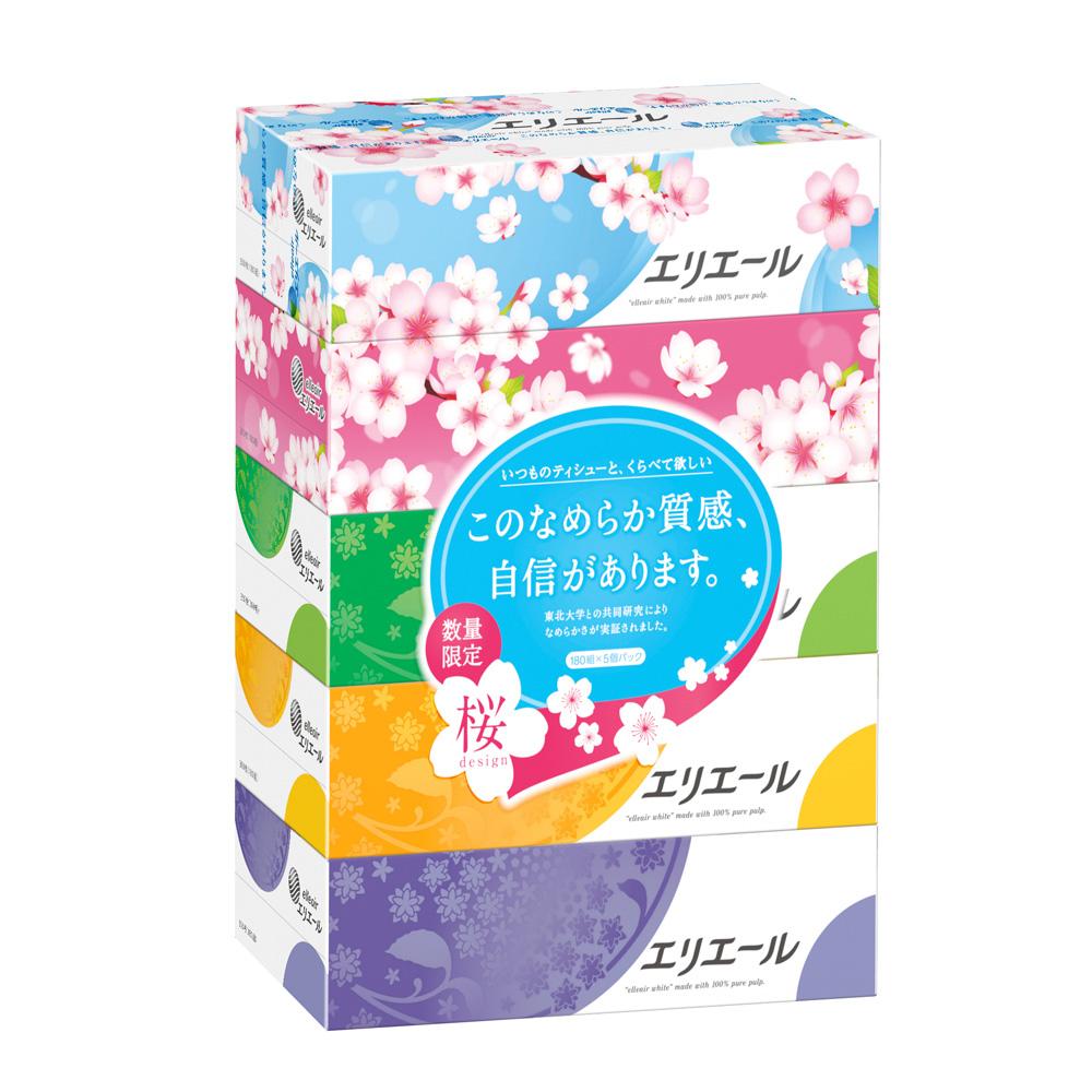 日本大王elleair 柔膚抽取式面紙(180抽x5入)串 限量櫻花版