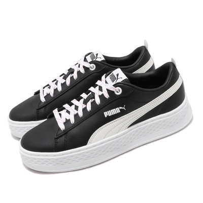 Puma 休閒鞋 Smash Platform 運動 男鞋 基本款 簡約 厚底 皮革 球鞋 穿搭 黑 白 369833-03