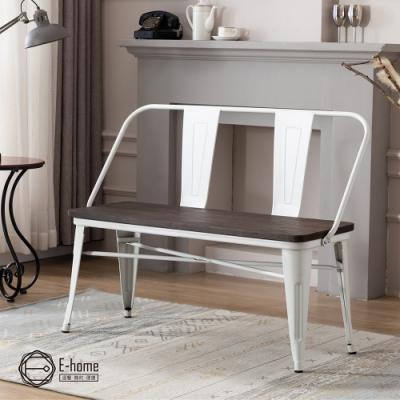 E-home Olga歐加工業風金屬木面高背長板凳-三色可選