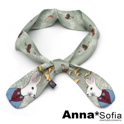 AnnaSofia 可愛插畫動物 細版仿絲小領巾絲巾髮帶(灰綠底兔紳士)