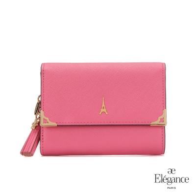 【Elegance】LIVELY 十字紋對折小中夾-粉紅色