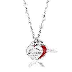 Tiffany&Co. 雙心墜飾925純銀火紅琺瑯項鍊