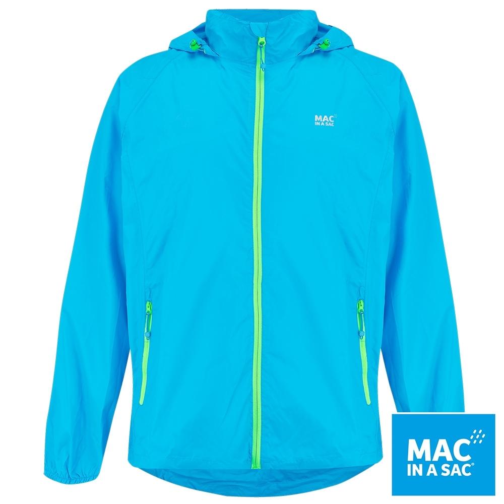 【MAC IN A SAC】男女款輕巧袋著走防水抗風透氣輕量外套MNS089螢光藍
