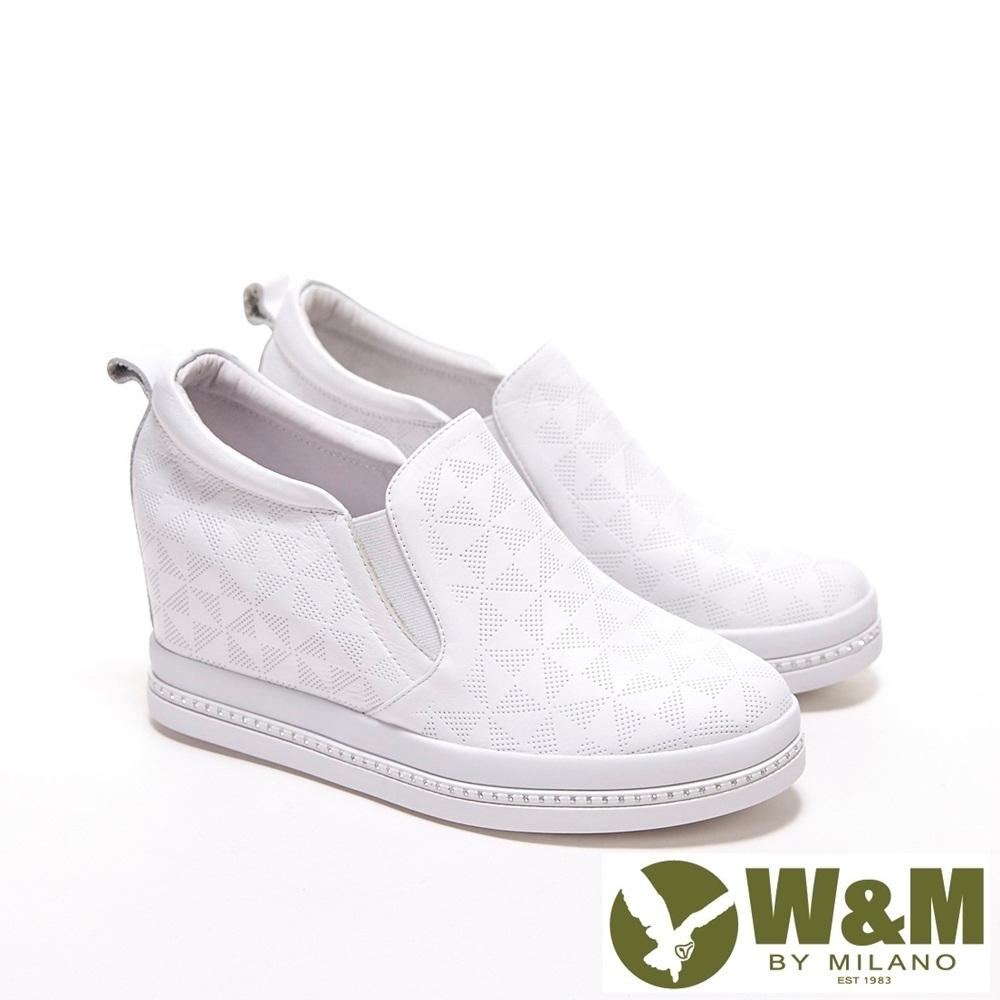 W&M 圓頭方格紋內增高鞋 厚底鞋 女鞋-白(另有黑)