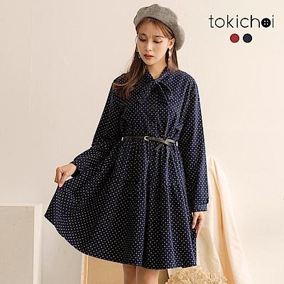 東京著衣 日甜少女磨毛點點綁帶長袖洋裝-S.M.L(共二色)