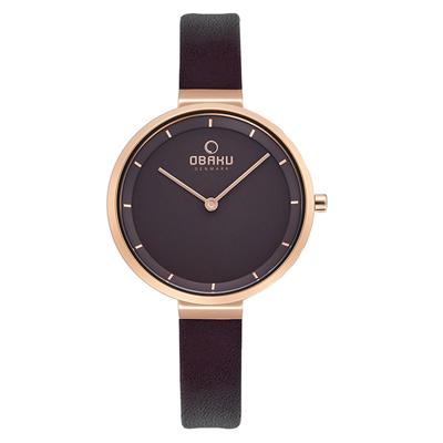 OBAKU 經典至臻皮革女錶-棕色X玫瑰金(V225LXVNRN)32mm