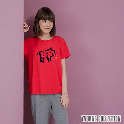 YVONNE豬豬圖案短袖上衣- 紅