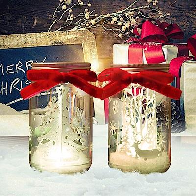 法國三寶貝鹿樹&聖誕樹許願瓶LED夜燈擺飾