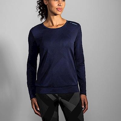 BROOKS 女 Array背開式透氣長袖 海軍藍 (221281465)