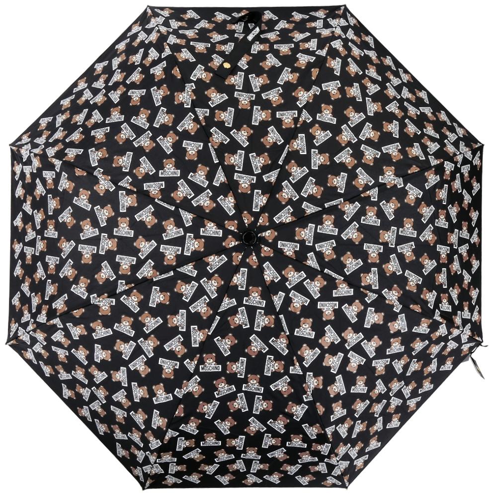 MOSCHINO 滿版泰迪熊自動摺疊晴雨傘(黑色)