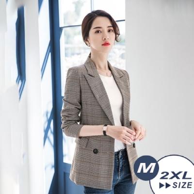 【LANNI 藍尼】英倫風格紋修身西裝外套-格紋(M-2XL)