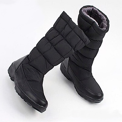 【AIRKOREA韓國空運】正韓鋪棉拼接內刷毛休閒懶人中筒靴-黑