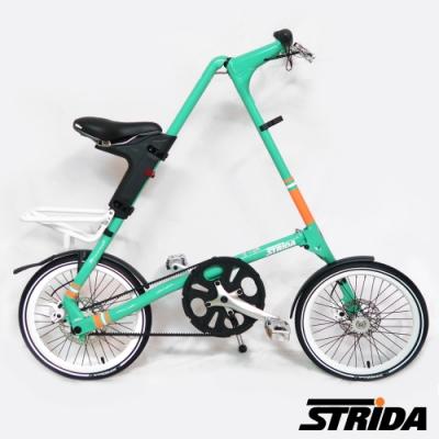 英國STRiDA速立達 SX版18吋 單速碟剎/皮帶傳動/折疊後可推行/三角形單車-薄荷綠
