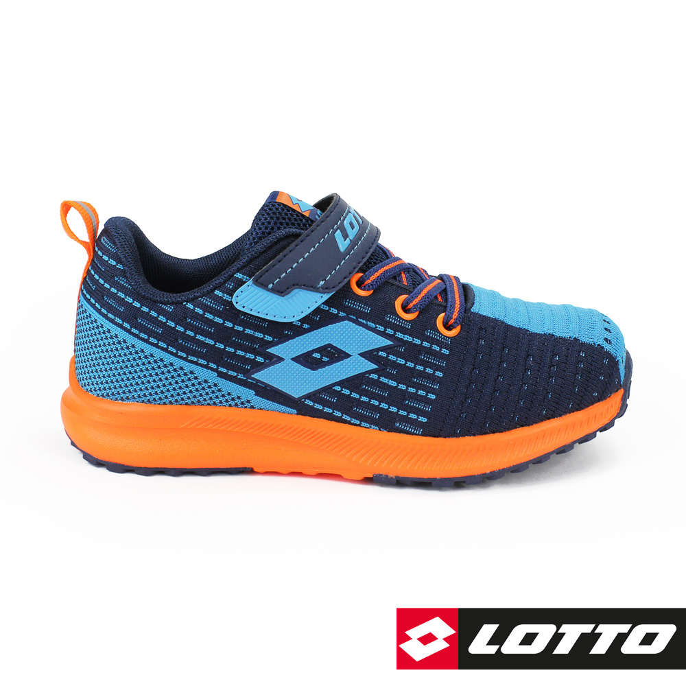 LOTTO 義大利 童 KNIT LIGHT 針織輕量跑鞋(藍/桔)
