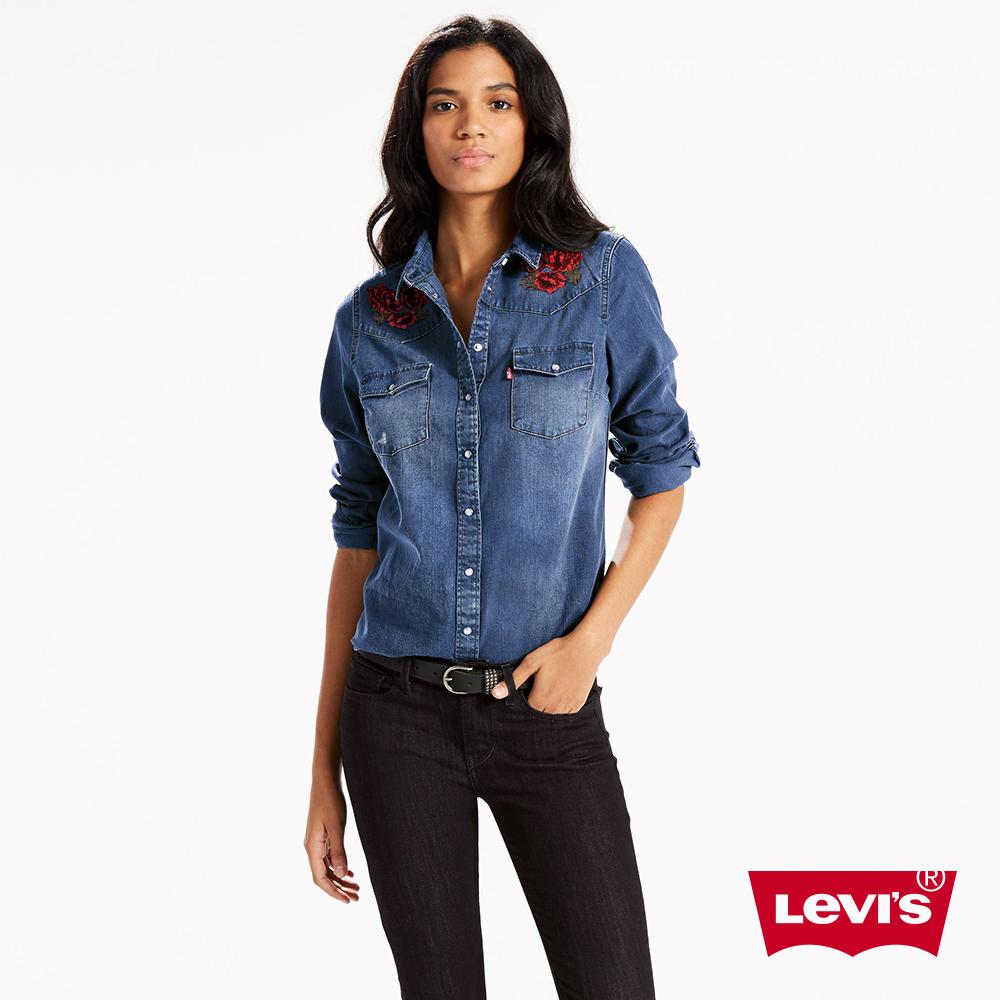 Levis 牛仔襯衫 女裝 玫瑰刺繡