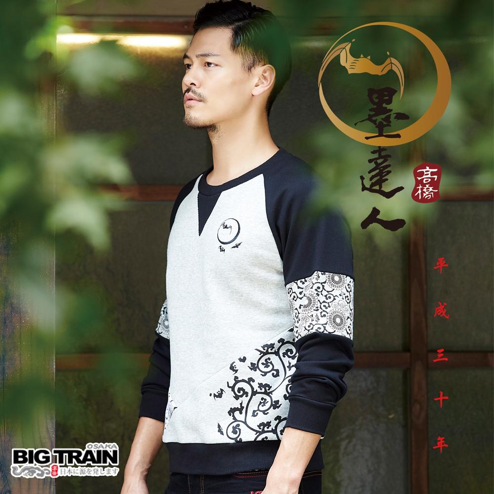 BIG TRAIN 唐草蝙蝠配色厚绒T-男-灰麻