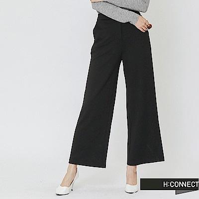 H:CONNECT 韓國品牌 女裝-俐落簡約後鬆緊寬褲-黑