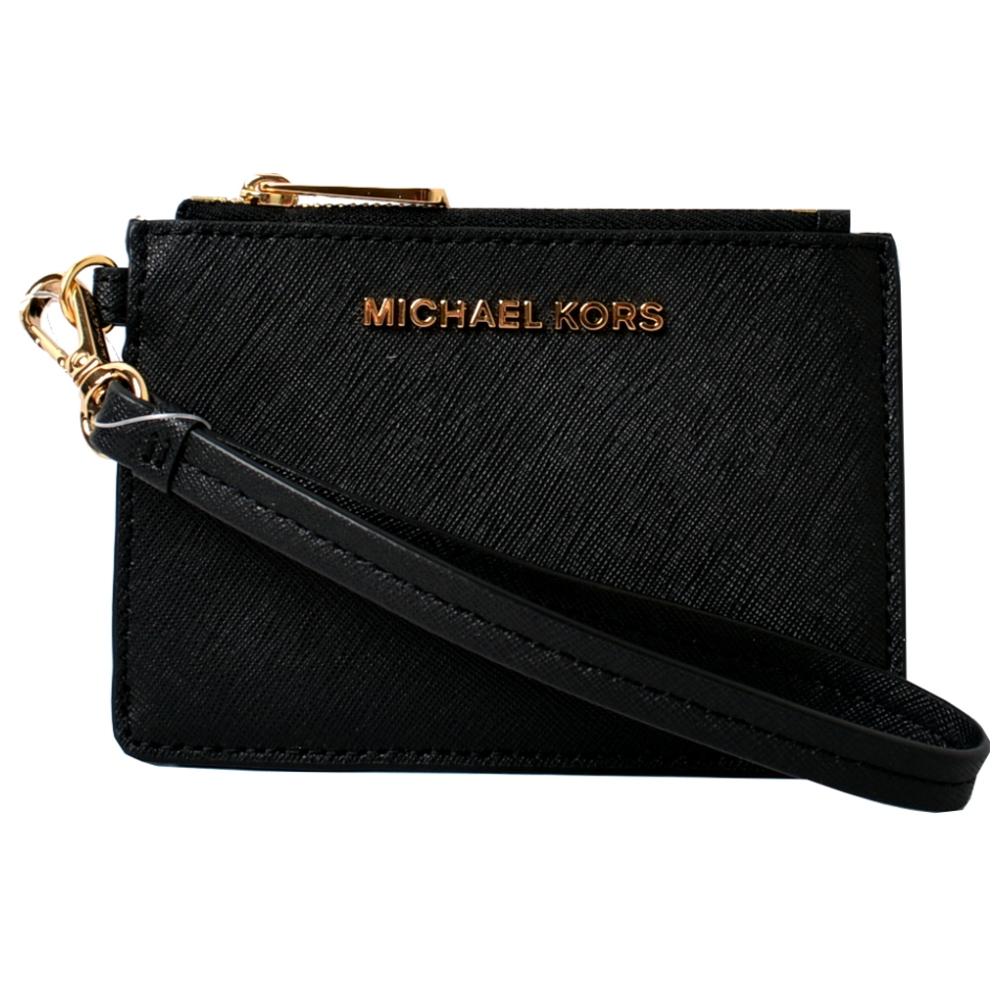 MICHAEL KORS KINSLEY 卡片吊飾零錢包卡夾包-黑