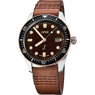 Oris豪利時 復古青銅限量機械錶-咖啡x黑/42mm