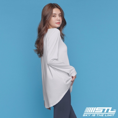 STL yoga ESSENCE HipCover loosefit LS 韓國瑜珈 運動機能 本質蓋臀長版寬鬆長袖上衣 灰濛白 White