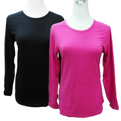 女用輕磨毛暖暖衣-黑色/桃紅-W366-4件入