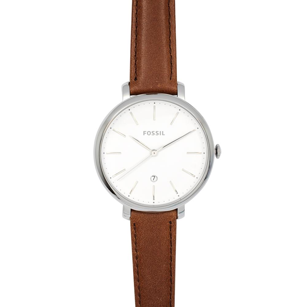 FOSSIL 美國精品手錶 JACQUELINE白錶盤x銀錶框咖啡皮革錶帶36mm