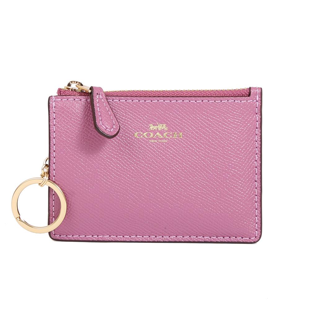 COACH 防刮皮革拉鍊證件零錢鑰匙包(粉紫)COACH