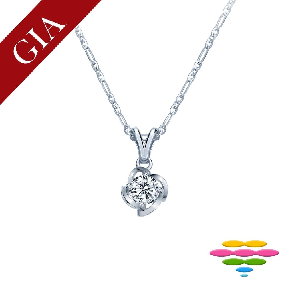 彩糖 GIA 30分 D/SI2 鑽石 3EX+八心八箭車工 玫瑰花鑽石項鍊