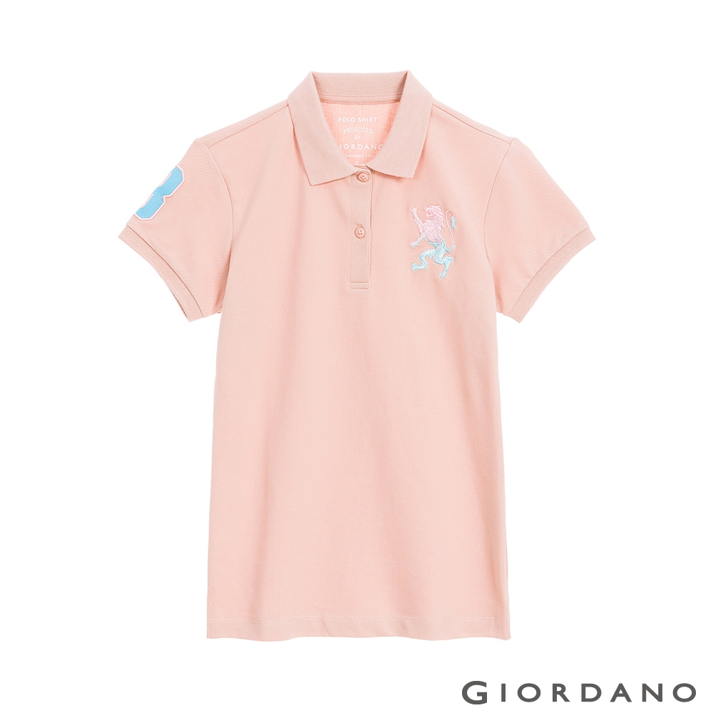 GIORDANO  女裝勝利獅王刺繡POLO衫 - 09 粉玫瑰紅