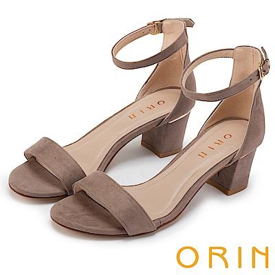 ORIN 經典時尚 一字繫踝繞帶後包粗跟涼鞋-可可