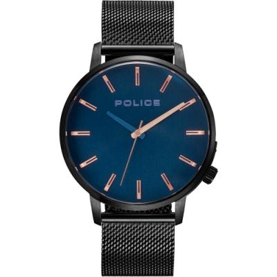 POLICE 率性時尚米蘭帶手錶-深藍X黑/42mm