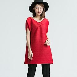 M@F摺衣 私藏經典長版壓褶衣-紅