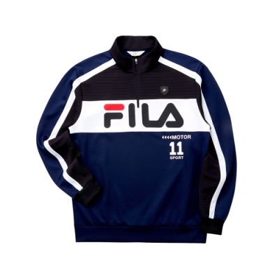 FILA 男吸濕排汗半門襟T恤-深藍 1TET-5472-DB