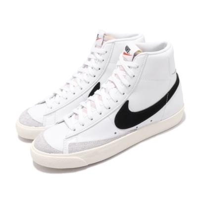 Nike 休閒鞋 W Blazer Mid 77 女鞋 高筒 皮革 復古 潮流穿搭 白 黑 CZ1055100