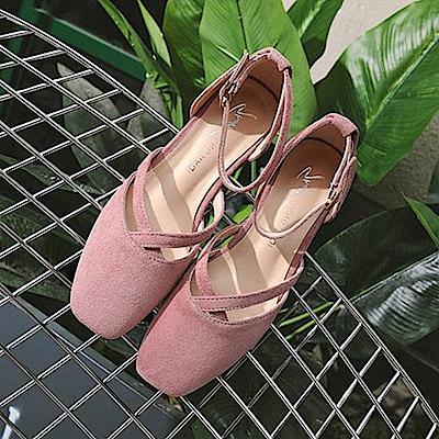 KEITH-WILL時尚鞋館 名媛必備話題單品一字扣粗跟鞋-粉色