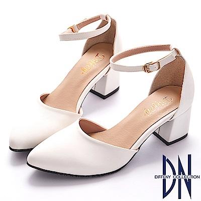 DN 微甜浪漫 知性經典尖頭瑪莉珍跟鞋-白