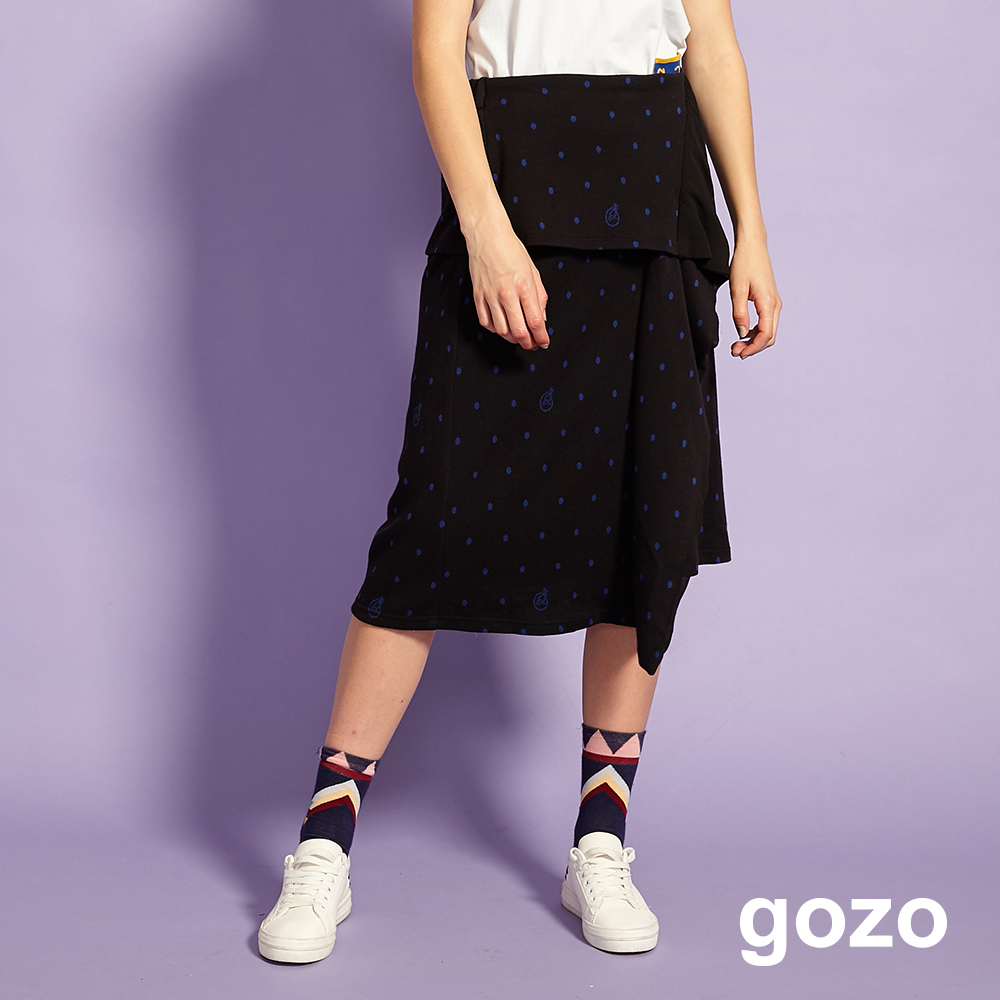 gozo 造型拼接前片印花裙(黑色)