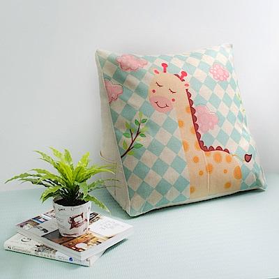 【收納職人】Zakka日系雜貨風棉麻織紋舒壓三角抱枕/靠枕/腿枕(格紋長頸鹿)
